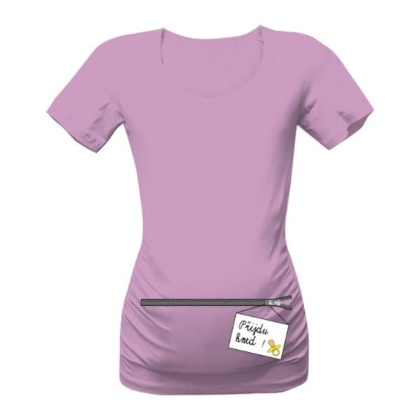 těhotenské tričko s nápisem přijdu hned