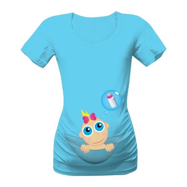 těhotenské tričko miminko v kapse holčička