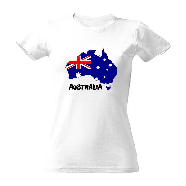 Dámské tričko s mapou austrálie a nápisem