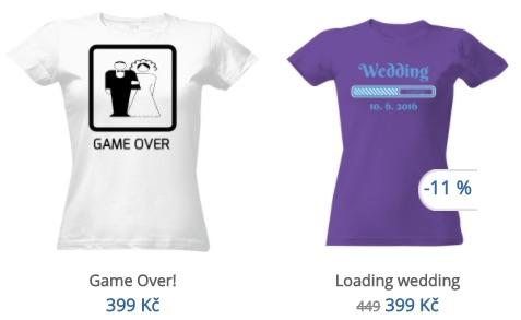 vtipná svatební trička s potiskem
